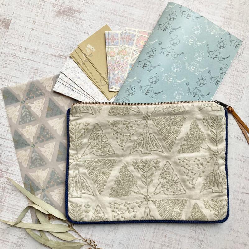 【イベント限定販売品】 模様の雑貨merinomi 刺繍ポーチ (Mサイズ)と紙モノセット
