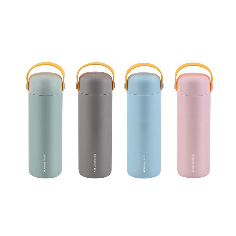 BGM ステンレス製 携帯まほうびん 450ml DOLPHIN キャリーイージーL グリーン/グレー/ピンク/ブルー AKS617