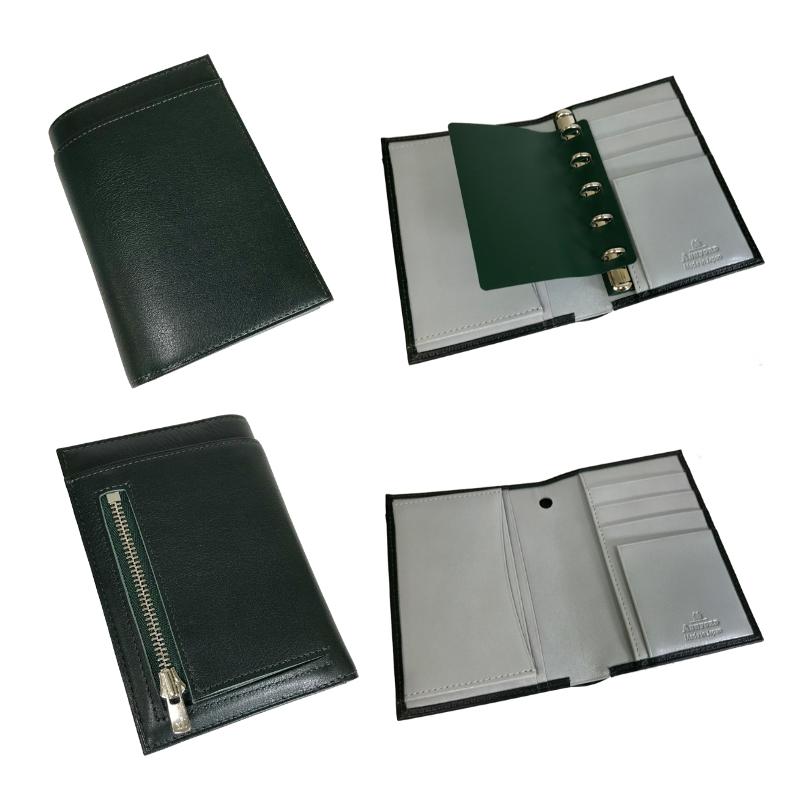 【名入れ対応商品】 アシュフォード ashford ウォータープルーフ ウォレットジャケット システム手帳財布 M5 11mm リフィルパッド ブラック×ラスタ/ワイン×ピンク/グリーン×グレー 2411