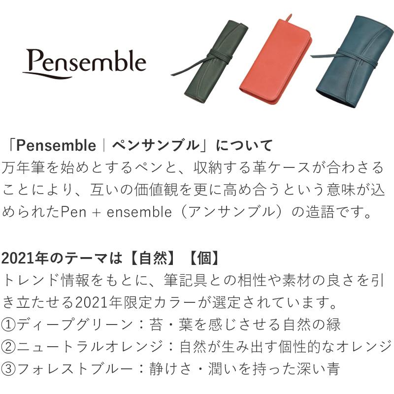 パイロット ペンサンブル 2021年限定色 ロールペンケース 5本差し PSR5-01 グリーン/オレンジ/ブルー キップレザー ピッグスウェード 万年筆 ペンケース