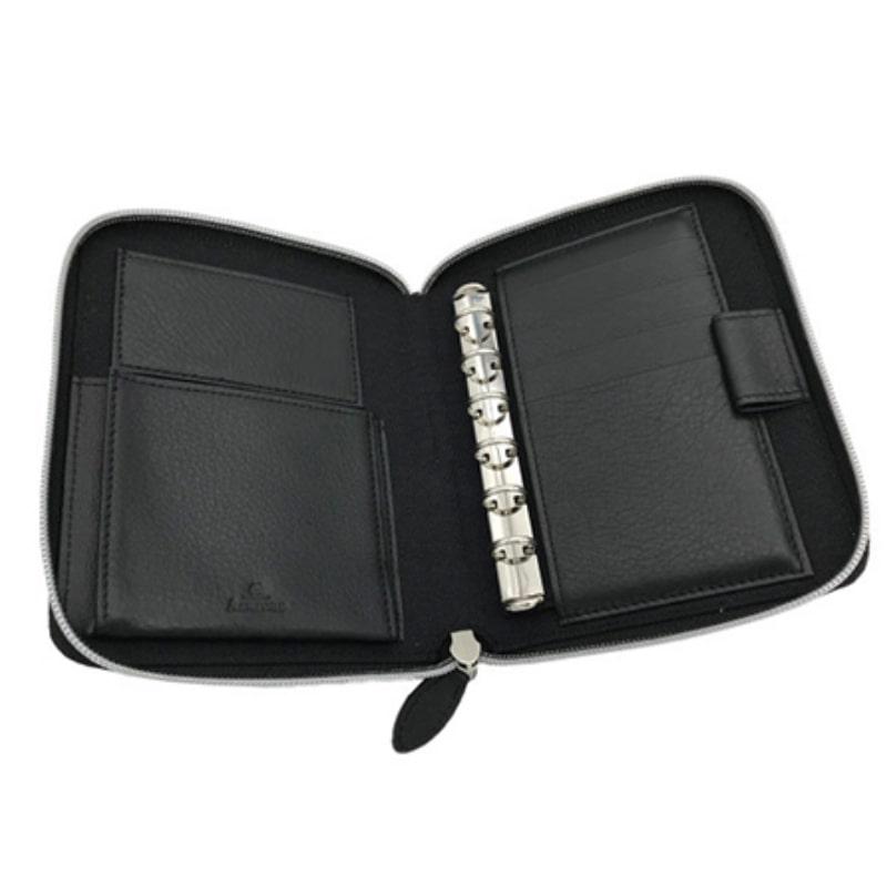 【名入れ対応商品】 アシュフォード レーニエ システム手帳 クラッチジャケット M6 ミニ6 13mm リフィルパッド ジップ ブラック 1436