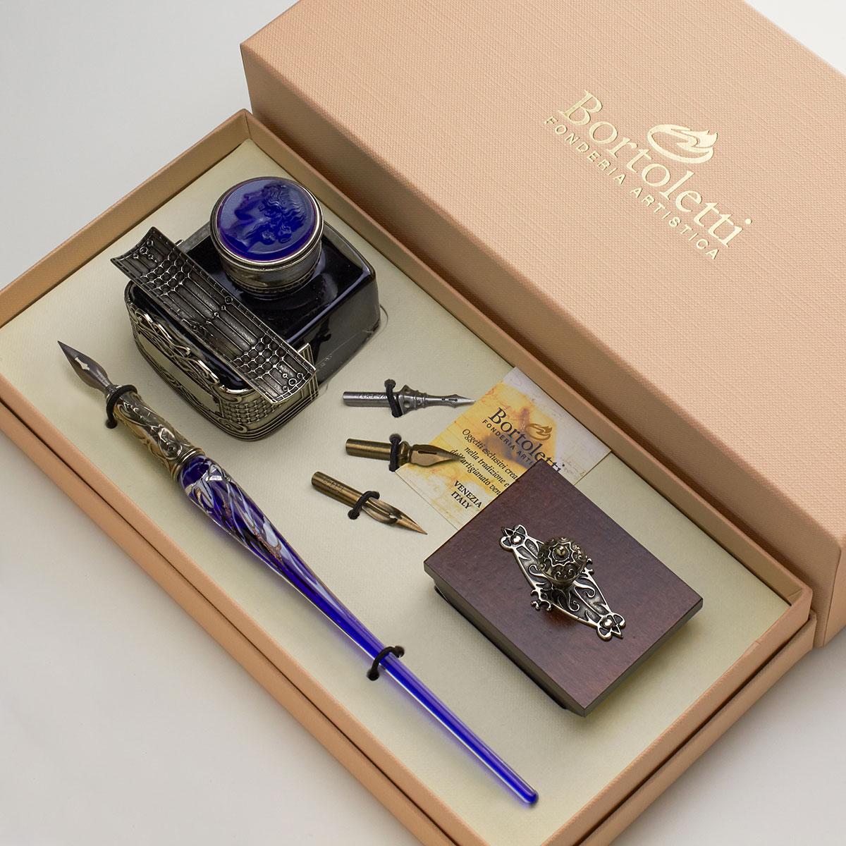 ボルトレッティ Bortoletti 木製ペン軸 ギフトセット No62 ガラスペン ペンホルダー付きボトルインク 替えペン先 ブロッターセット