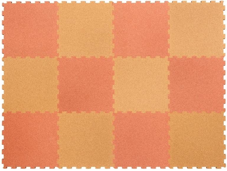 オールコルクマット【スポンジ無】 ナチュラル/ピンク 12枚1セット(ナチュラル6枚/ピンク6枚)