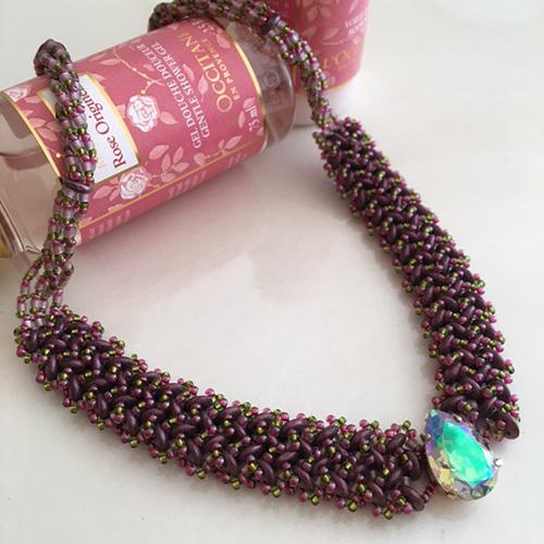 【お取り寄せ商品】4ホールビーズをヘリンボーンで編むネックレス 〜ラフィネ〜(キット)