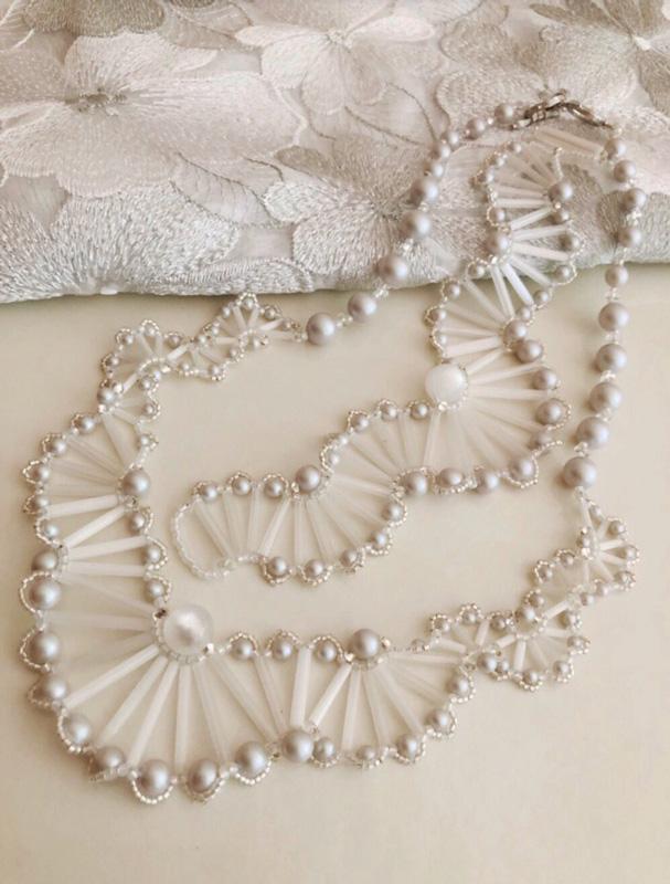 ターンステッチで編むネックレス 〜ホワイトバタフライ〜(キット)
