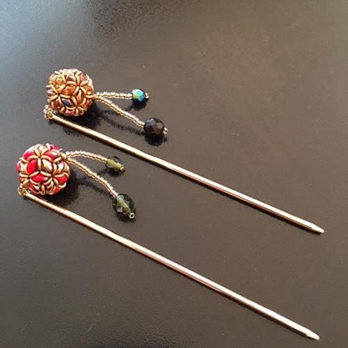 2ホールビーズで編む1本かんざし 花手毬 〜アリエス〜(キット)