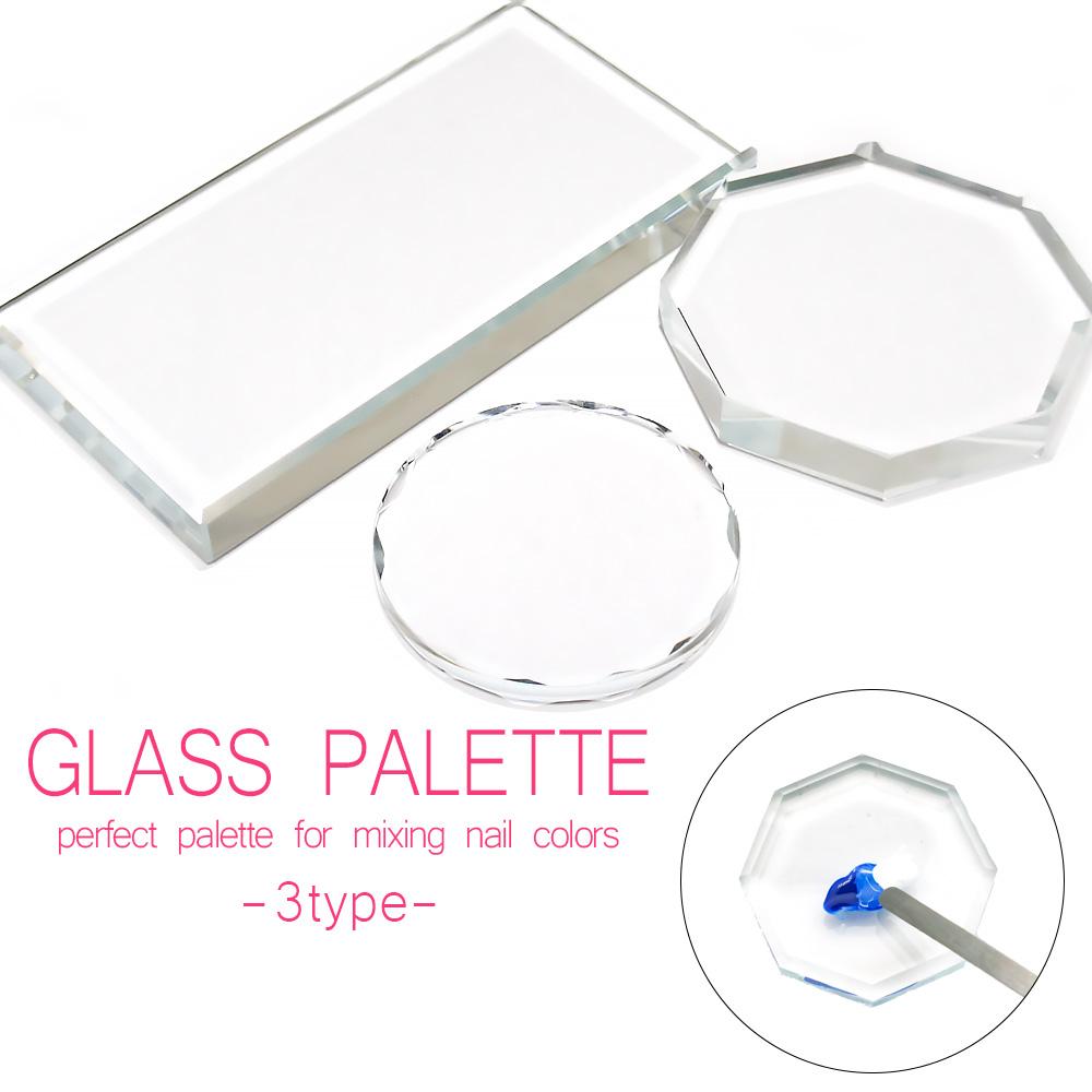 【ネコポス送料無料】ネイルツール ガラスパレット クリア 3種 長方形 八角形 円形