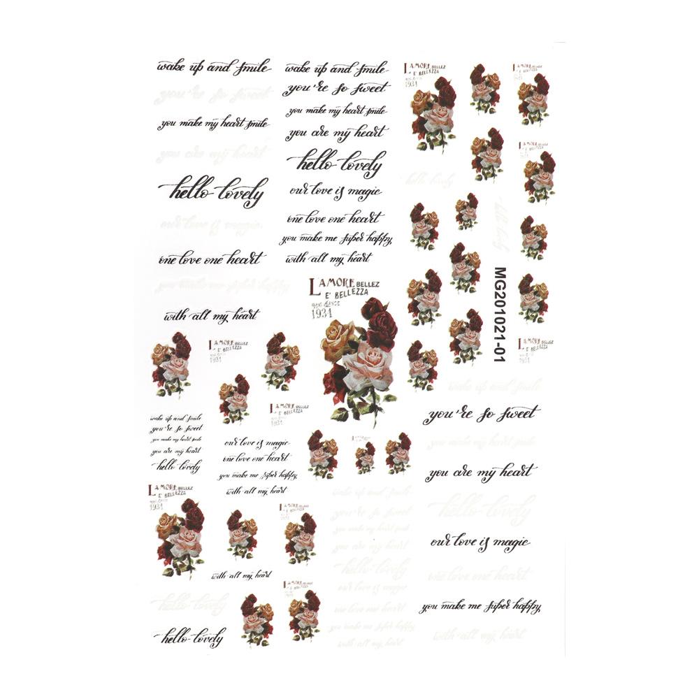 【ネコポス送料無料】ネイルシール レトロローズ&レターシール[MG201021-01]