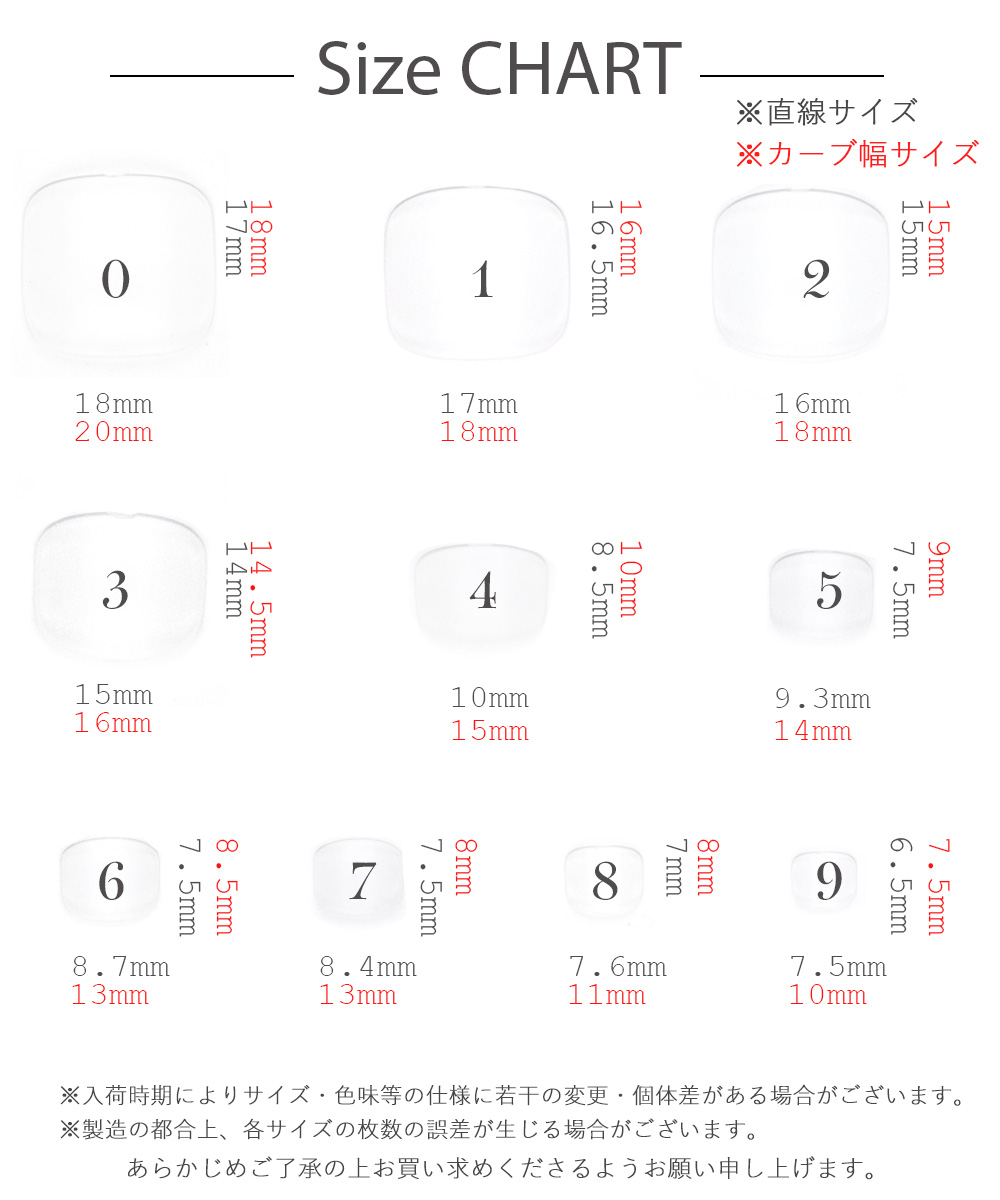 【ネコポス 送料無料】フットタイプネイルチップ サンディング加工なし 透明 500枚入り(10サイズ 各50枚) 足用 フットチップ ペディキュア