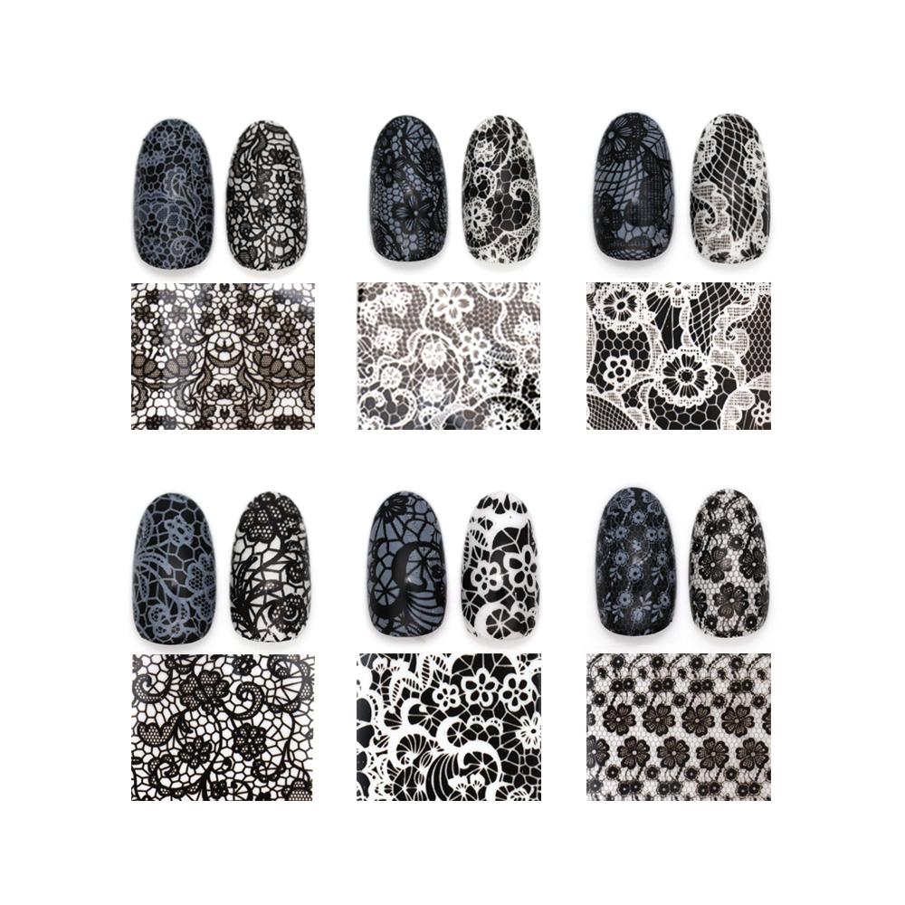 【ネコポス送料無料】ネイルアート アートホイル モノトーンアートホイル 全16種セット ブラック ホワイト