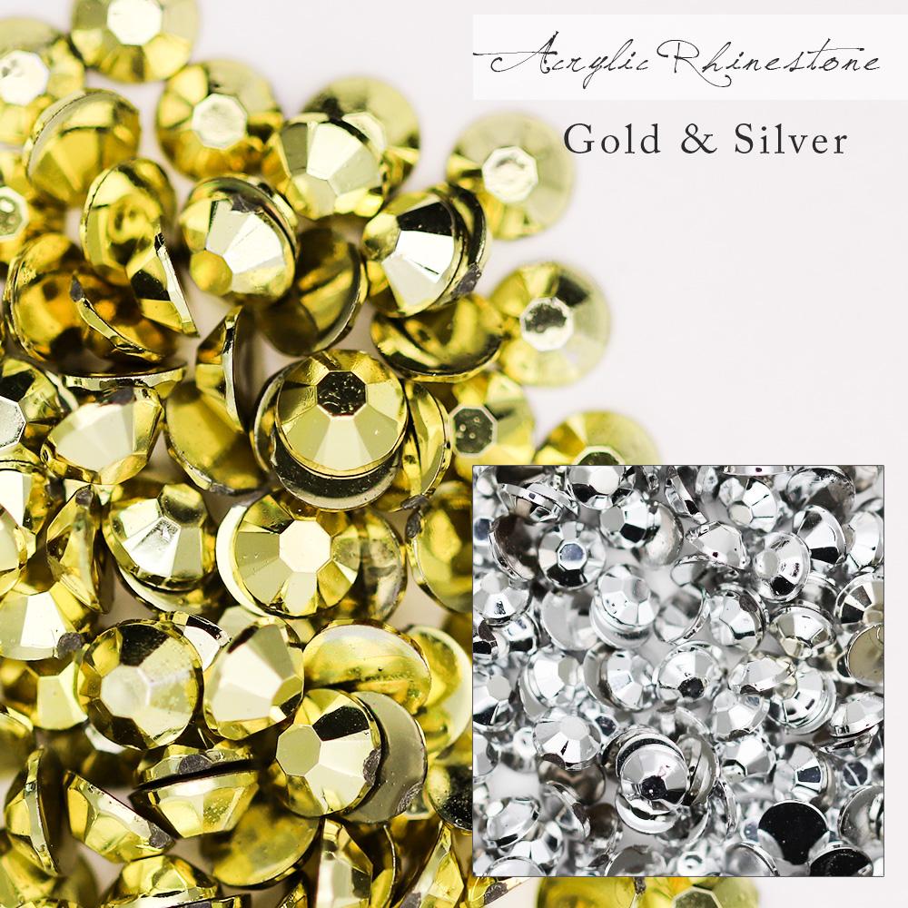 【ネコポス 送料無料】【特殊カラー(ゴールド・シルバー)】高級アクリルラインストーン