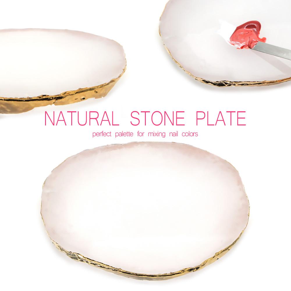 【ネコポス送料無料】ネイルツール 天然石風プレート ホワイト