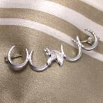 4つの蹄鉄とホースヘッドのブローチ (シルバー)