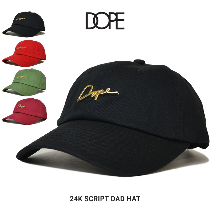 DOPE ドープ 24K SCRIPT DAD HAT CAP キャップ 6-PANEL CAP 帽子 ストラップバックキャップ 6パネルキャップ メンズ レディース ユニセックス ストリート 【送料無料】