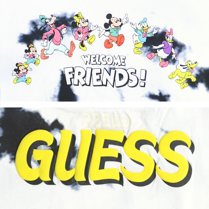GUESS ゲス Tシャツ Mickey & Friends Tie-Dye S/S TEE 半袖 カットソー トップス ミッキー & フレンズ コラボ メンズ M-XL ネイビー ML2K7775DM 【単品購入の場合はネコポス便発送】【送料無料】