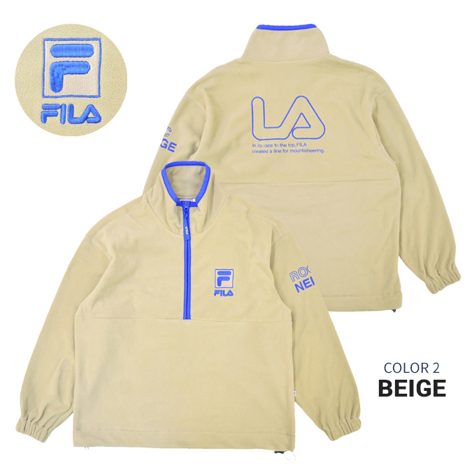 FILA HERITAGE (フィラ ヘリテージ) ジャケット HALF ZIP FLEECE JACKET フリースジャケット ボアジャケット メンズ M-XL ブラック ベージュ FM9678 【送料無料】