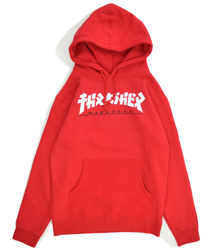 THRASHER スラッシャー GODZILLA HOOD SWEAT PARKA プルオーバー パーカー スウェット フリース 赤/レッド S-XL ストリート メンズ 【送料無料】