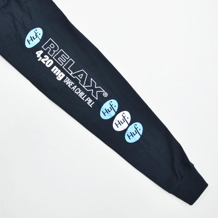 HUF ハフ ロンT RELAX L/S TEE 長袖 Tシャツ カットソー トップス メンズ S-XL ブラック ホワイト TS01340 【単品購入の場合はネコポス便発送】【送料無料】
