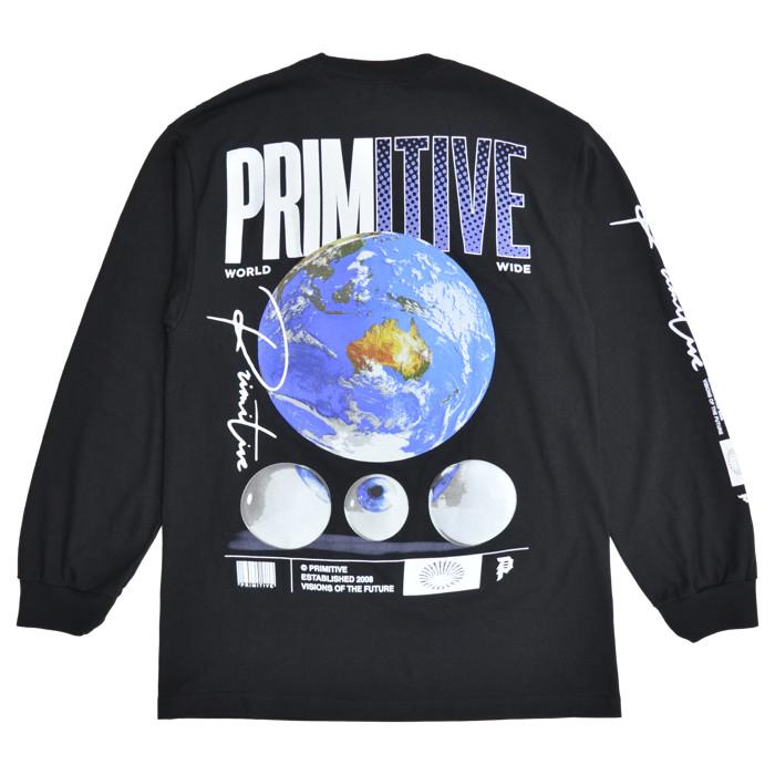 PRIMITIVE プリミティブ ロンT WORLDWIDE VISION L/S TEE 長袖 Tシャツ カットソー トップス メンズ M-XL ブラック ホワイト 【単品購入の場合はネコポス便発送】【送料無料】