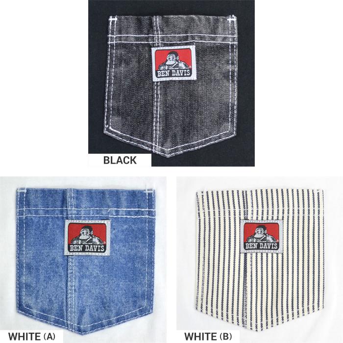 BEN DAVIS ベンデイビス Tシャツ DENIM POCKET TEE 半袖 ポケT カットソー トップス メンズ ブラック ホワイト S-XL C-0580005 【単品購入の場合はネコポス便発送】【送料無料】