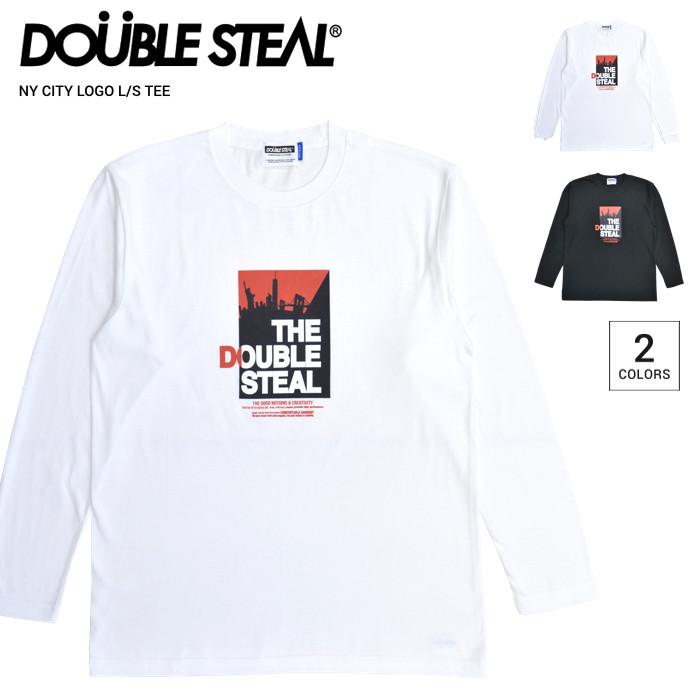 DOUBLE STEAL ダブルスティール ロンT NY CITY LOGO L/S T-SHIRT TEE 長袖 Tシャツ カットソー トップス メンズ M-XL ブラック ホワイト 914-14055 【単品購入の場合はネコポス便発送】【送料無料】