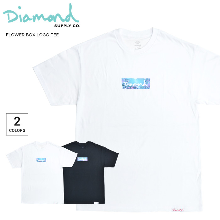DIAMOND SUPPLY Co. ダイヤモンド サプライ Tシャツ FLOWER BOX LOGO TEE 半袖 カットソー トップス メンズ M-XL ブラック ホワイト 【単品購入の場合はネコポス便発送】【送料無料】