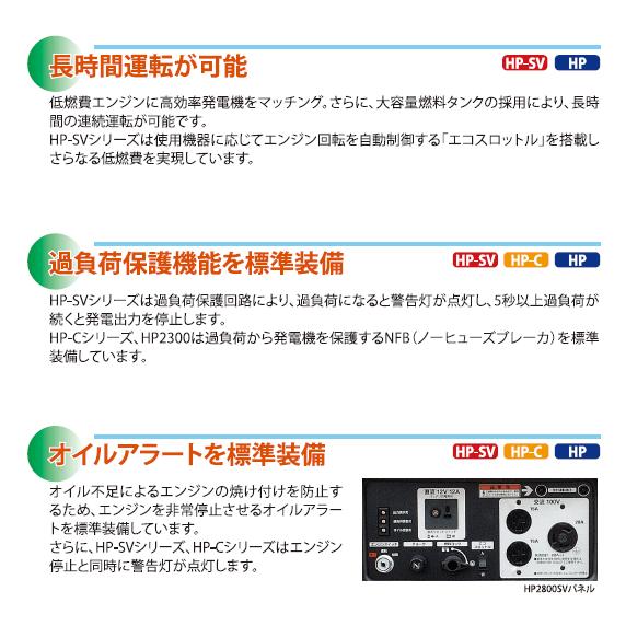 エンジン発電機・ポータブル:防音インバータ HP1800SV:北越工業(エアマン)