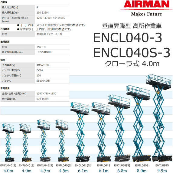 北越工業 自走式高所作業台 ENCL040S-3