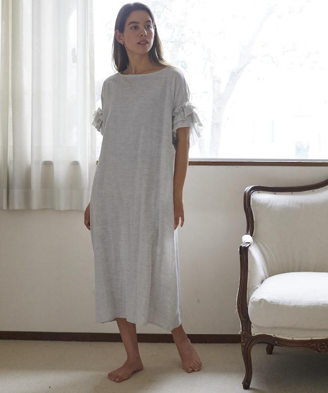ローズマリー ガーゼロングドレス グレー