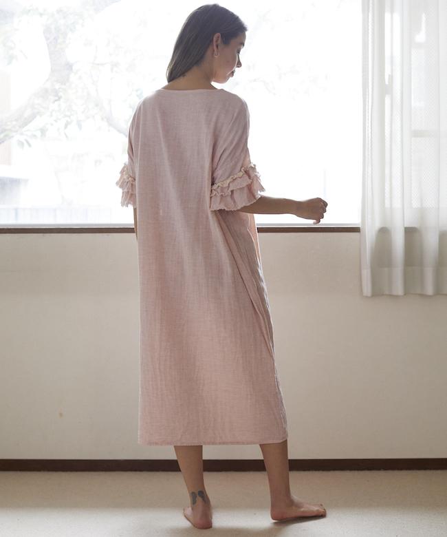ローズマリーガーゼロングドレス ピンク