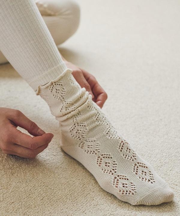 編み柄ソックス