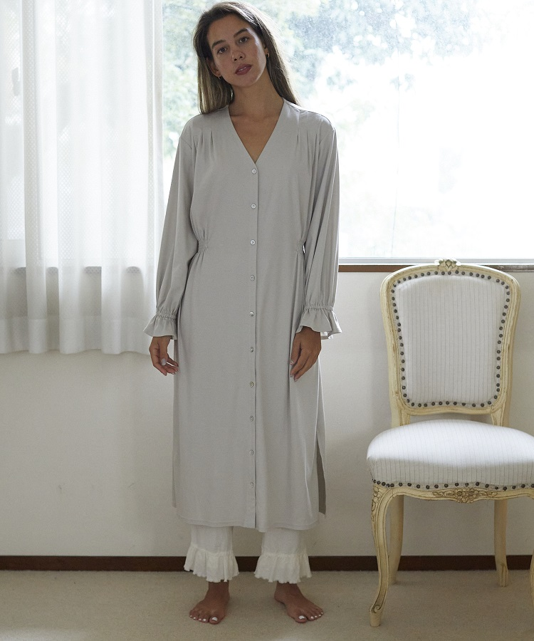 ベルガモットシャーリングドレス ライトグレー