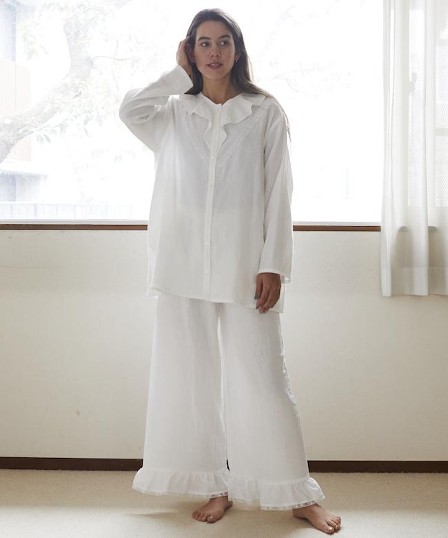 カモミールガーゼフリルチュニック ホワイト
