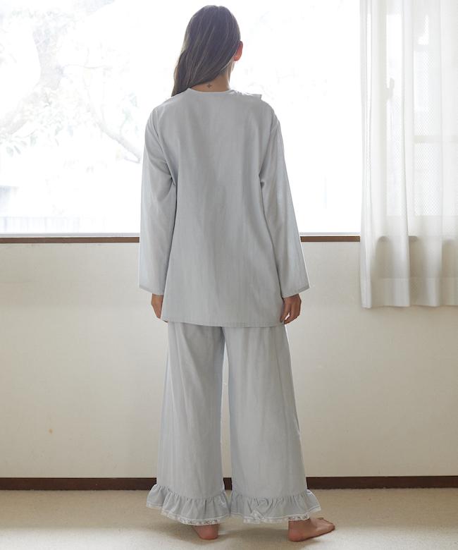 【9月末発送予定】カモミールガーゼ フリルチュニック ライトブルー