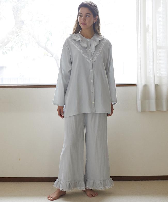 【9月末発送予定】カモミールガーゼ フリルパンツ ライトブルー