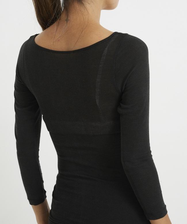 うすふわシルク ロングTシャツ ブラック