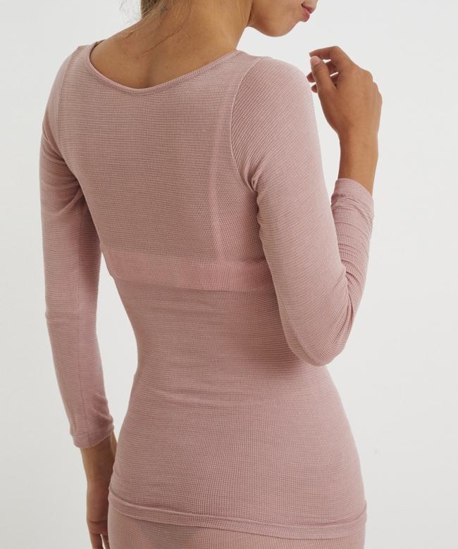 うすふわシルク ロングTシャツ ピンク