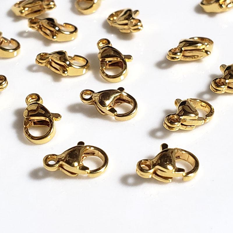 高品質 ステンレス カニカン 4個 ◇ ゴールド アレルギー対応 長さ10mm A000345
