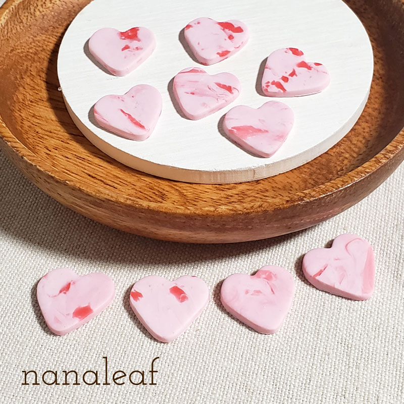 ピンク&レッドのハート型カボション4個セット  ☆ 樹脂粘土  N000002