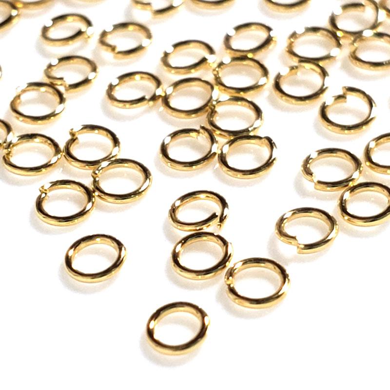 高品質 ステンレス 丸カン 18KGP 2.5mm 80個 ◇ 線径0.5mm ゴールド アレルギー対応 A000347