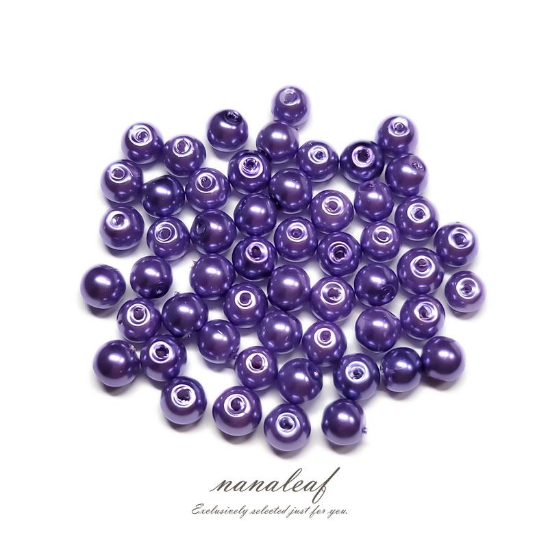 ガラスパール 6mm 100個 ◇ ブルーパープル ◇ 光沢 両穴 ビーズ パープル 紫 BGP06UU1