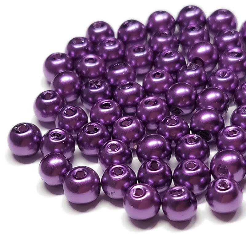 ガラスパール 6mm 100個 ◇ ブライトパープル ◇ 光沢 両穴 ビーズ パープル 紫 BGP06UB1