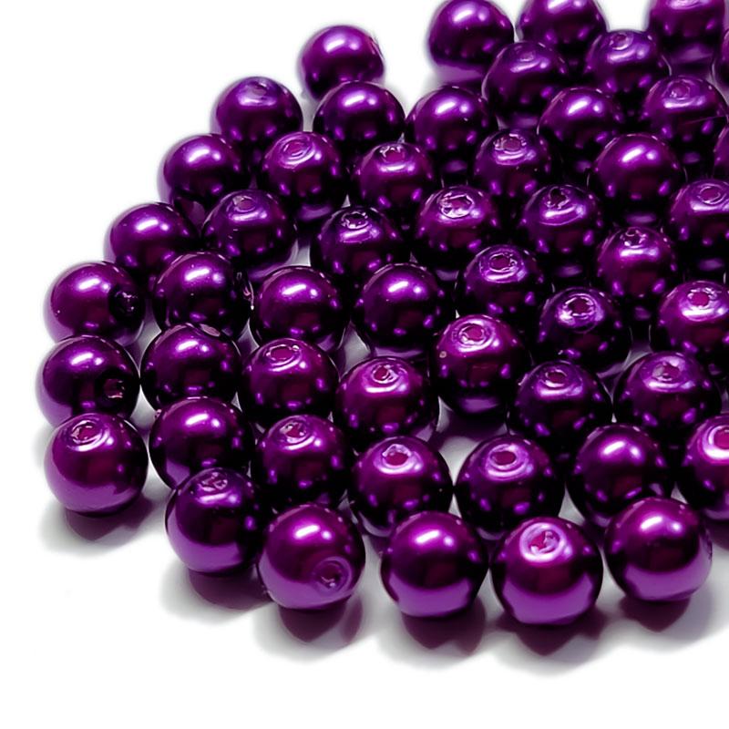 ガラスパール 6mm 100個 ◇ ブライトパープル濃いめ ◇ 光沢 両穴 ビーズ パープル 紫 BGP06UB2