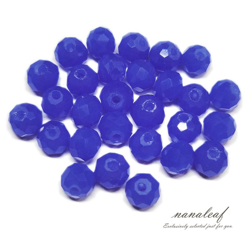 ガラスビーズ ロンデル 6mm ブルー オペーク 30個 多面カット キラキラ BGL06BL2