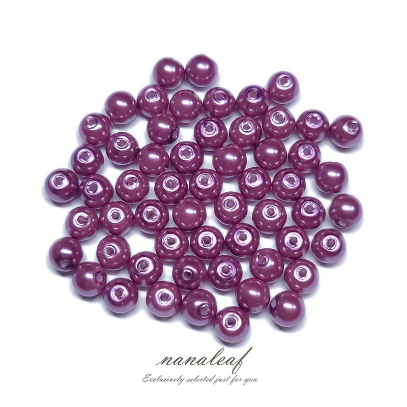 ガラスパール 6mm 100個 ◇ ピンクパープル ◇ 光沢 両穴 ビーズ パープル 紫 BGP06UP1