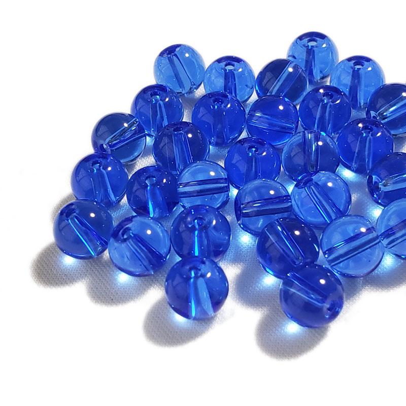 ガラスビーズ ブルー 8mm ◇ 透明 ビーズ 青 ラウンド BGL0001-BL8