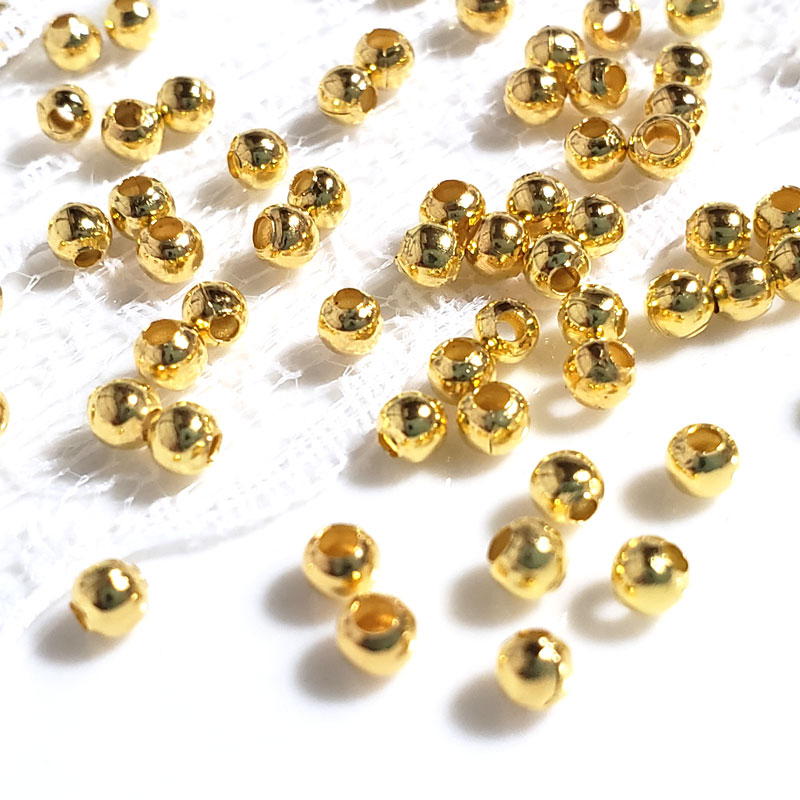 シンプルなスペーサービーズ 3mm 300個 ゴールド ◇ ラウンド A000357|nanaleaf (ナナリーフ)