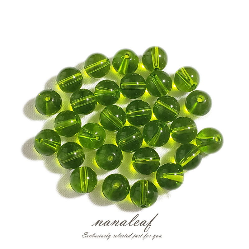 ガラスビーズ 若草色 8mm ◇ 透明 ビーズ 黄緑 グリーン BGL0001-GN8