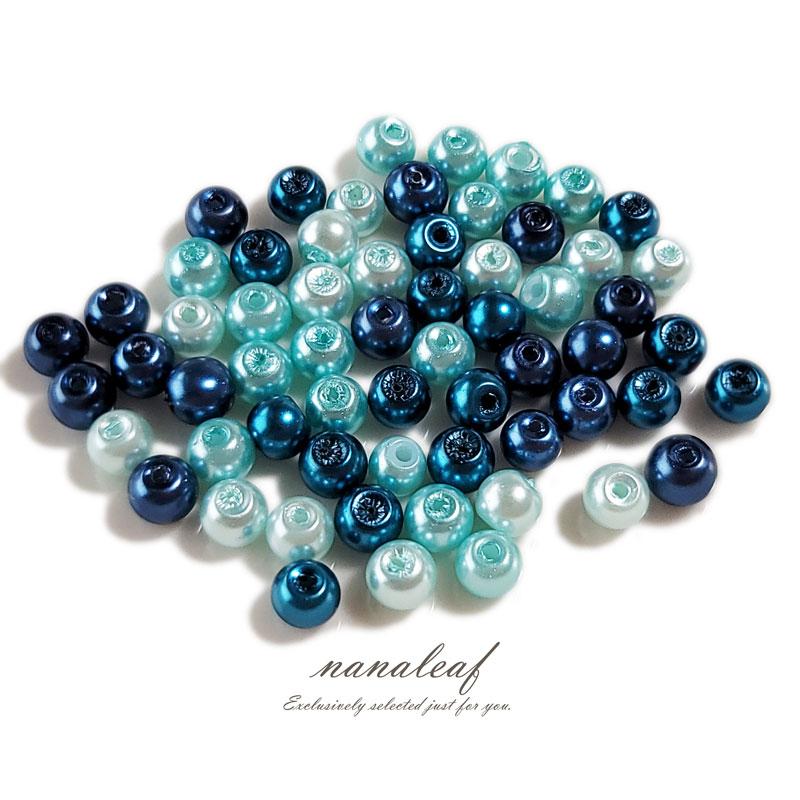 樹脂パール 4mm 80個 ブルーミックス 両穴 ◇ 光沢 ビーズ BPL04BL1