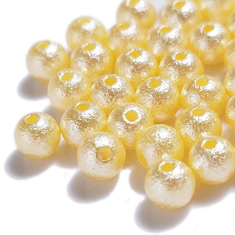 コットンパール風 ゴールド 両穴 ◇ 選べるサイズ 高品質 樹脂パール ビーズ PA0000YLG